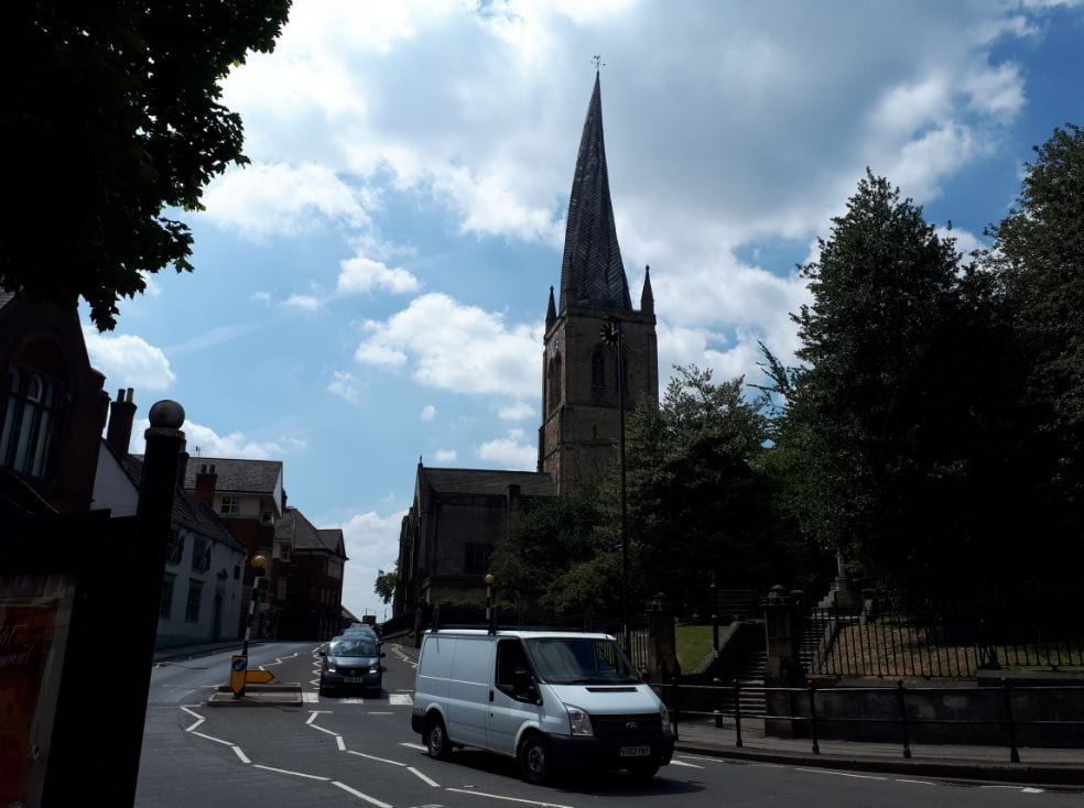 Chesterfield Paris Church. Wonky Spire Included