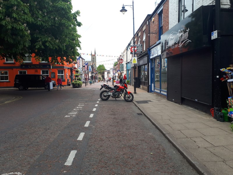 Chorley, Chapel Street. On the hunt for a Greenhalgh's butter pie, 19/5/19.