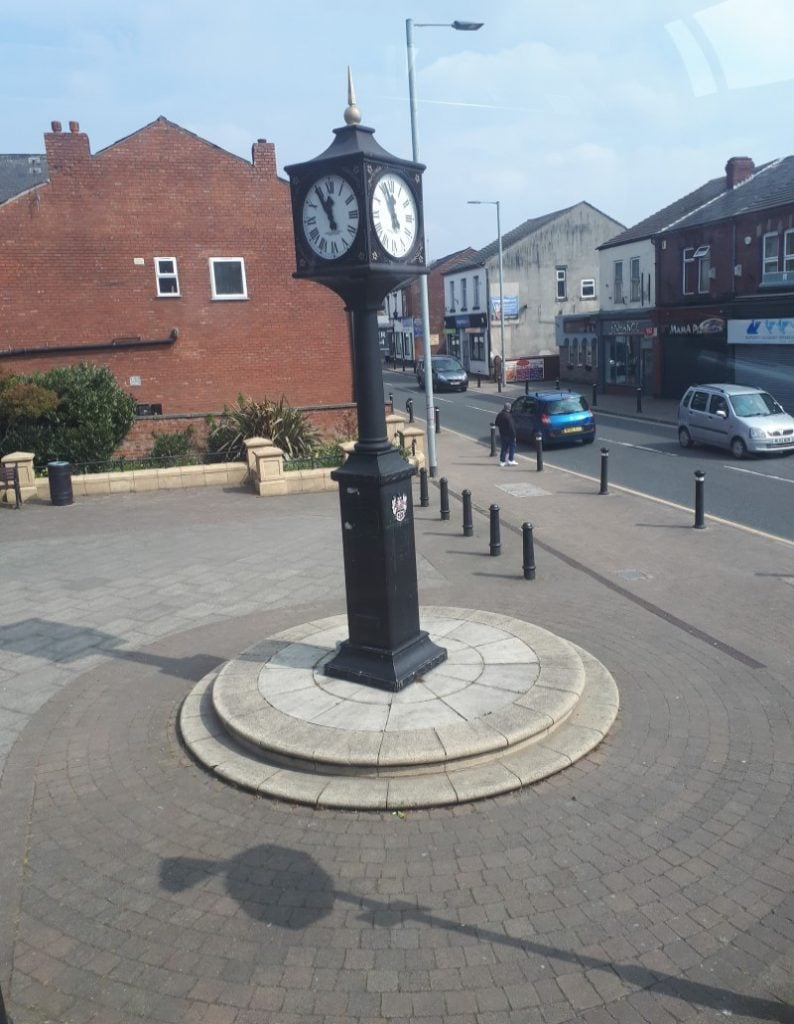 Golborne Clock. 15/4/19, taken by me from the top deck of the #10 bus from Wigan to Leigh.