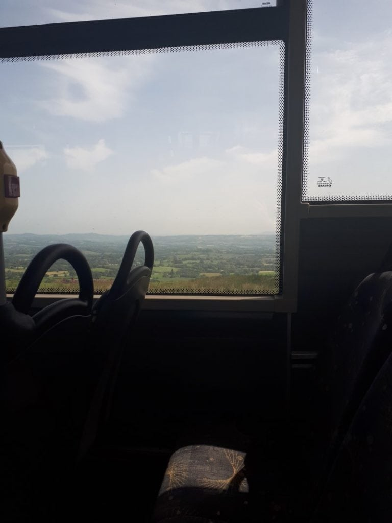 View from the wrong side of the bus on Clee Hill, Shropshire. 28/6/19 on the 292 from Ludlow to Kidderminster.