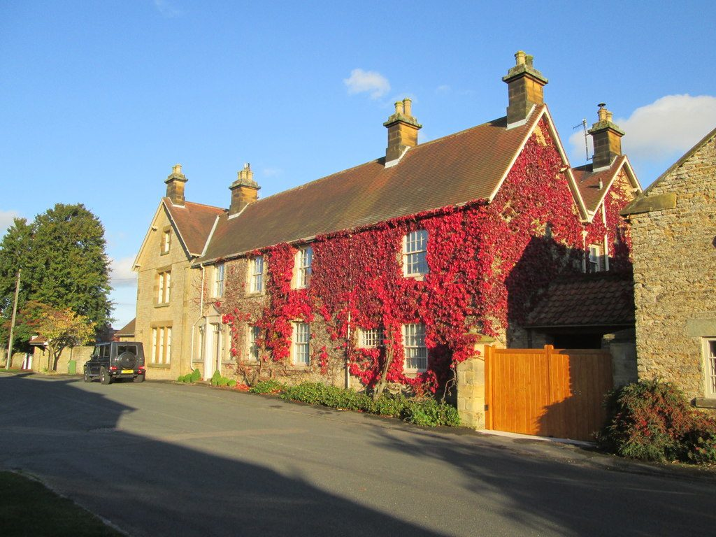 Hutton Buscel manor house with red ivy all over it. Image courtesy of the excellent geograph.org.uk
