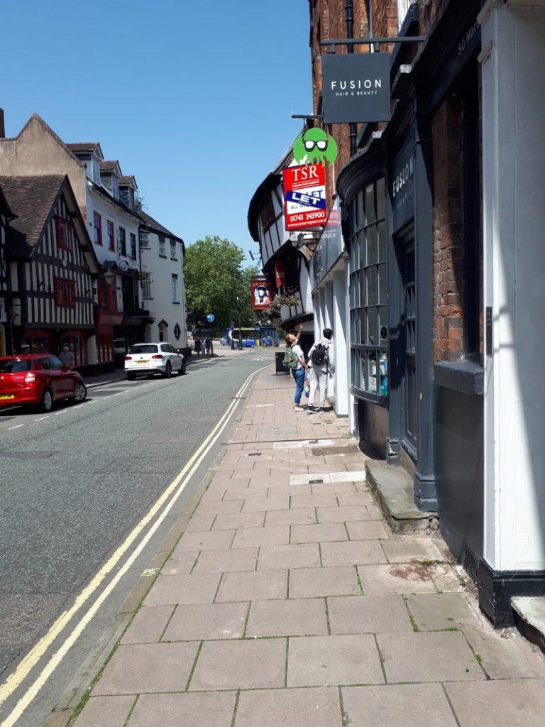 An example of jettying on a building along Mardol, Shrewsbury. 28/6/19