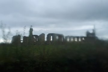 Byland Abbey from the mucky windows of the 31X bus.