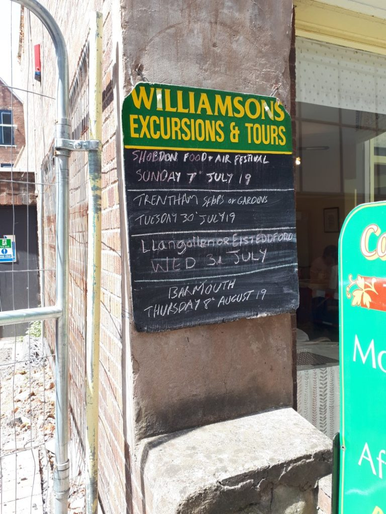 Williamson's Excursions & Tours, Shrewsbury. 29/6/19. It was roasting hot.