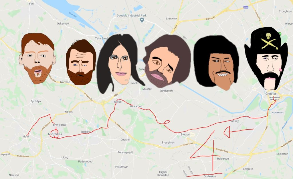 A map of the number 4 bus from Chester to Mold. Complete with nightmarish visions of rock stars who have played at The Tivoli in Buckley.