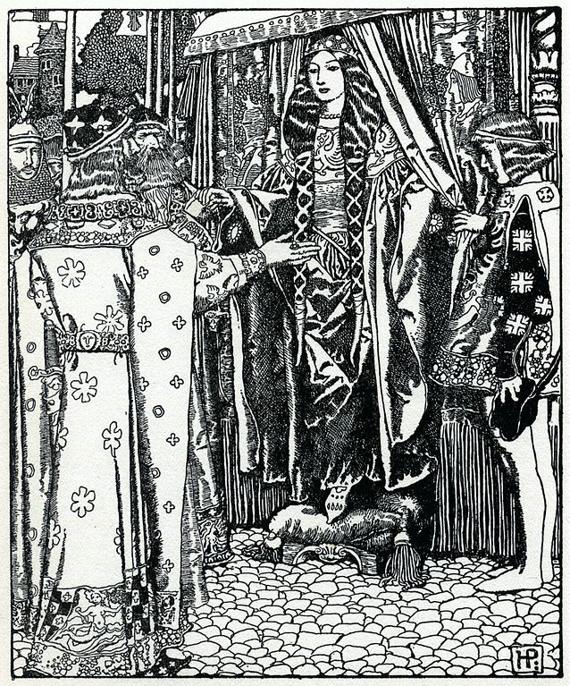 King Arthur meeting Queen Guinevere. Nabbed from Wikipedia.