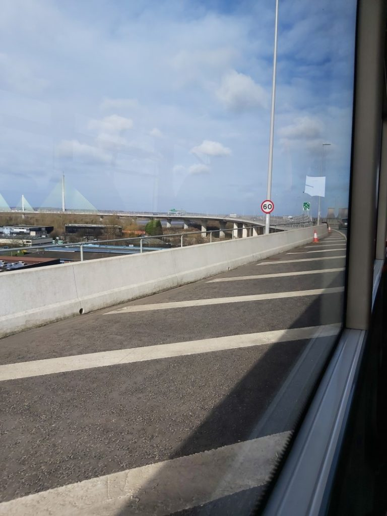 Mersey Gateway Bridge. Not bad seeing as we were going at full clip. Taken from the 62 bus from Warrington to Widnes, 17/2/20.