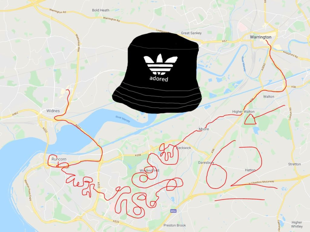 62 bus route map from Warrington to Widnes. Featuring a gigantic Stone Roses bucket hat.