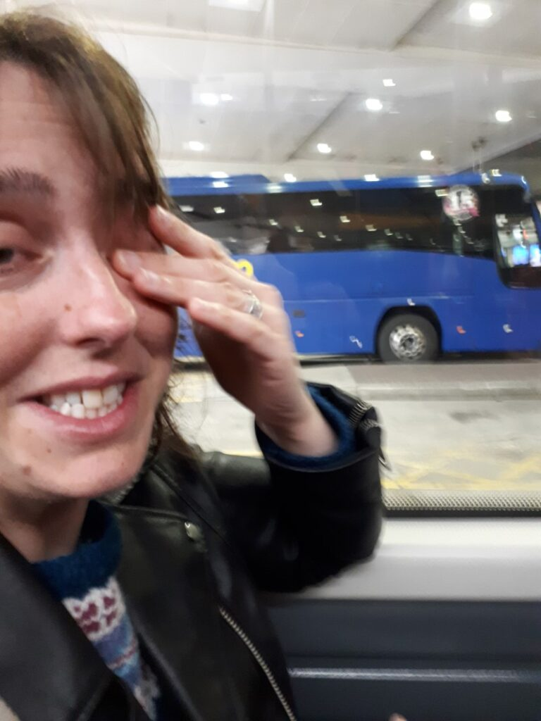 Eleanor, the morning after the night before in Edinburgh bus station. 1/5/19.