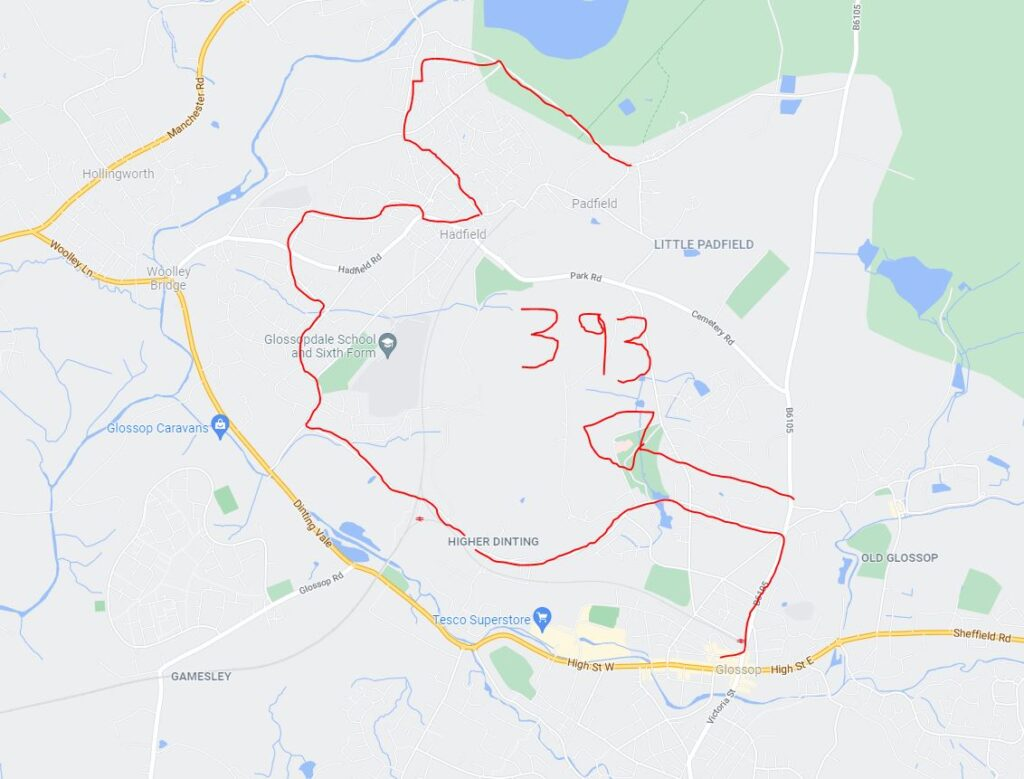 Totally accurate map of the 393 High Peak bus from Glossop to Hadfield.